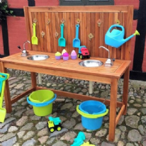Outdoor Wooden Waterplay Kitchen with Double Sink